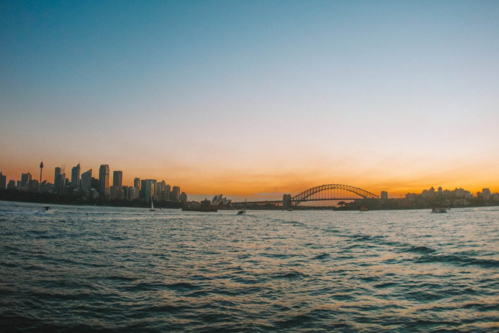 sunset sydney harbour