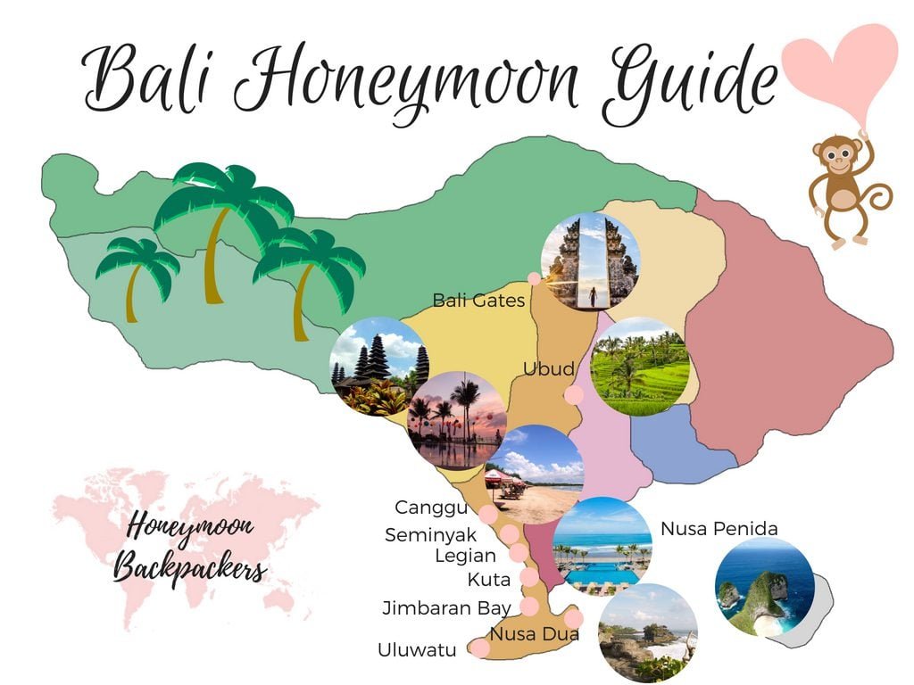 Bali honeymoon guide map